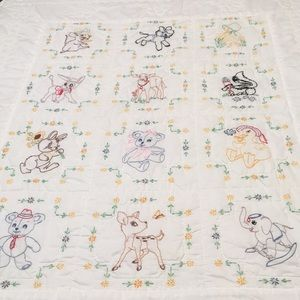 Handmade Baby Quilt w/Embroidery Details 56x41